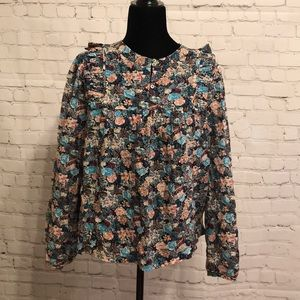 JCREW Ruffle-front top in paisley floral Sz L